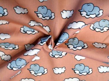 Baumwollstoff Elefant in den Wolken rosemary altrosa
