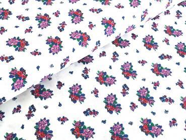Baumwollstoff Muster Blumen auf Weiss