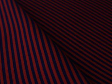 Bündchen gestreift Rot / Dunkel Blau 3mm