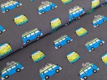 Baumwolljersey Bus Holiday Grau