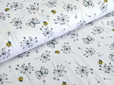Baumwolljersey Blumenwiese Bienen Schmetterlinge Weiss