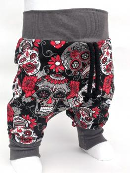 Pumphose Mexico Totenkopf Blumen Rot/Schwarz