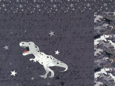 Baumwolljersey Panel ca 100 cm Dino Rex grau